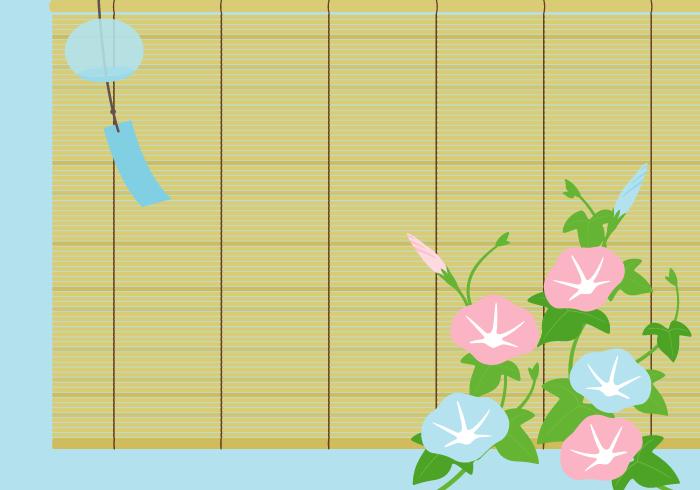 アサガオ(朝顔)と簾