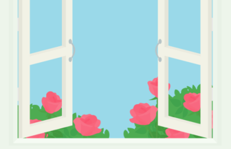 バラ(薔薇)が咲く窓辺