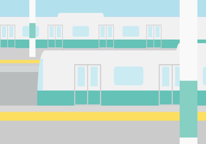 駅ホームの電車(鉄道)